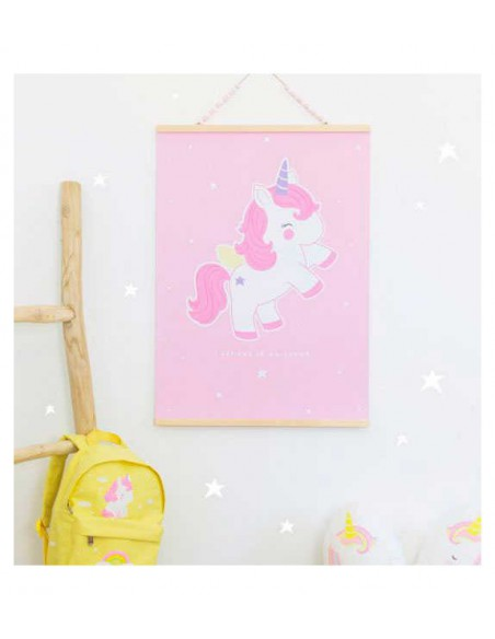 Póster unicornio rosa de A little lovely company