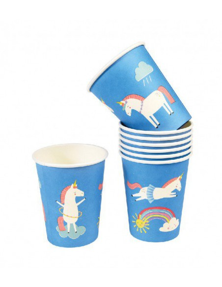 Set de 8 vasos de papel Magical Unicorn